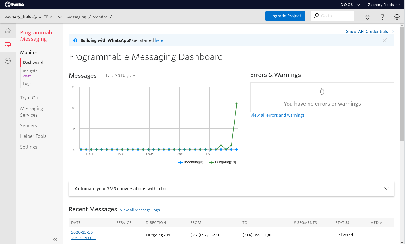 Twilio.com: Programmable Messaging Dashboard